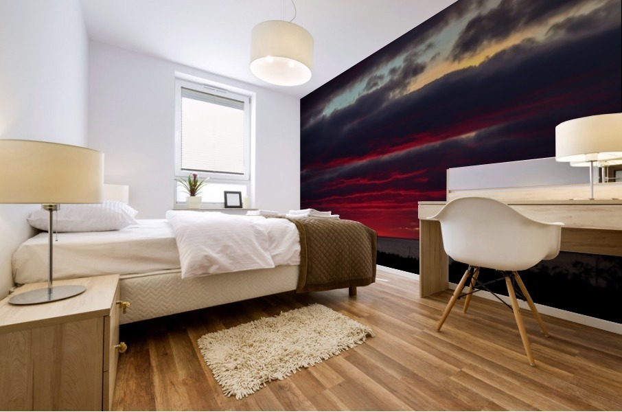 Blood red sunset Mural print