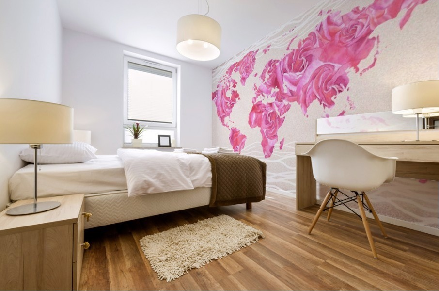 Pink Rose Petals Watercolor Map Of The World Mural print
