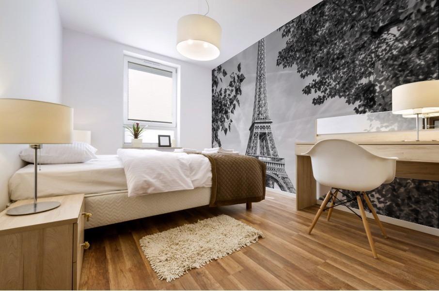 PARIS Eiffel Tower & River Seine   Monochrome Mural print