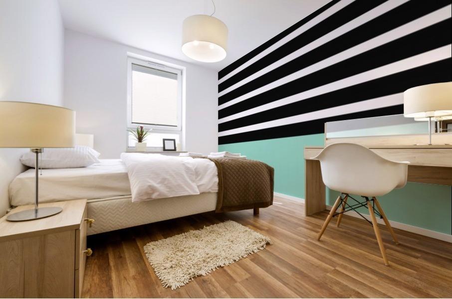 Black & White Stripes with Aquamarine Patch Mural print