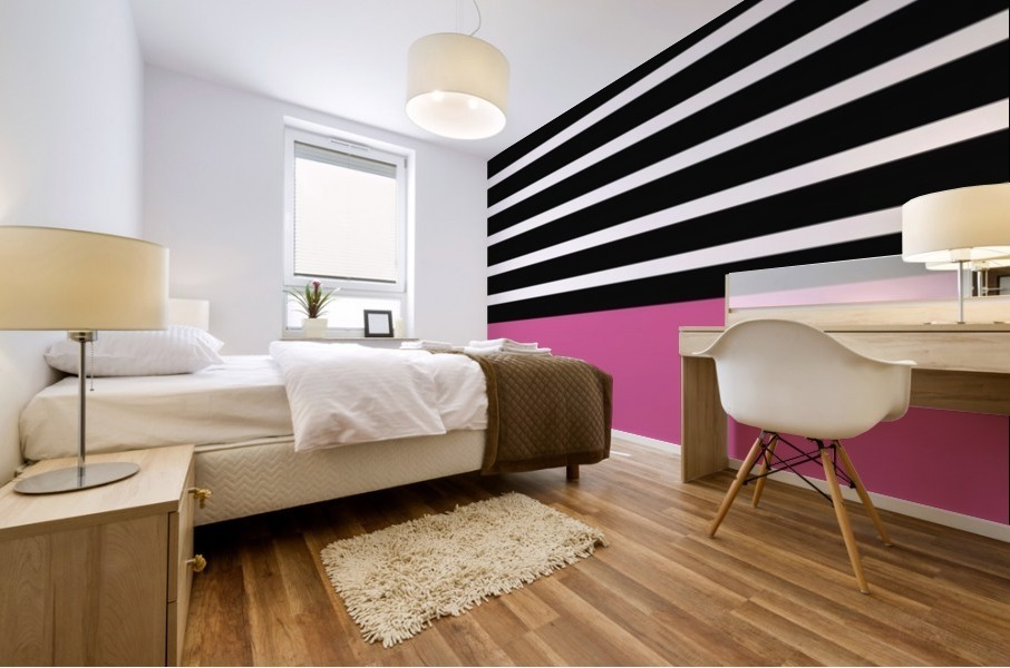 Black & White Stripes with Cranberry Patch Mural print