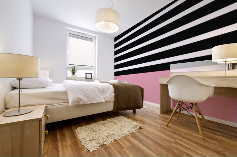 Black & White Stripes with Pacific Rose Patch Mural print