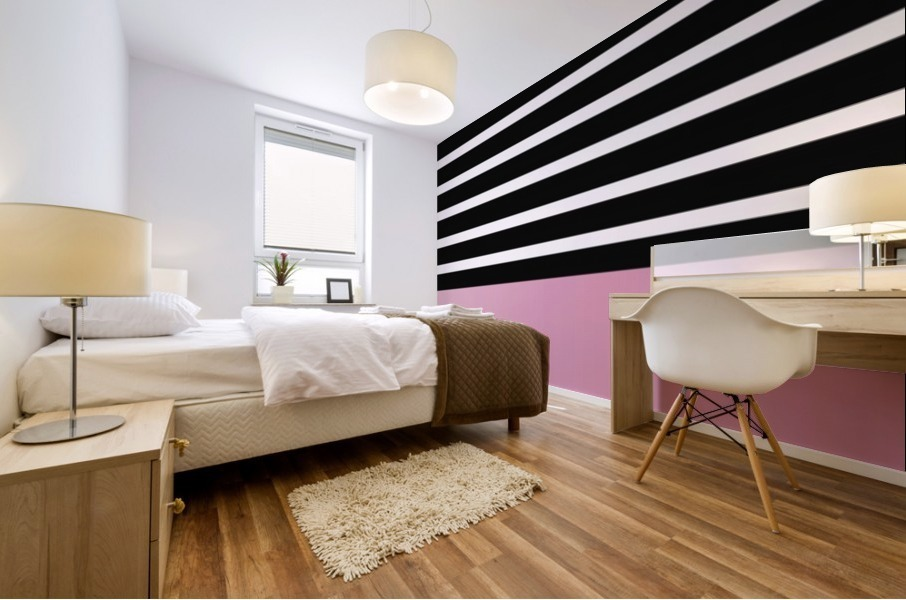 Black & White Stripes with Baby Pink Patch Mural print