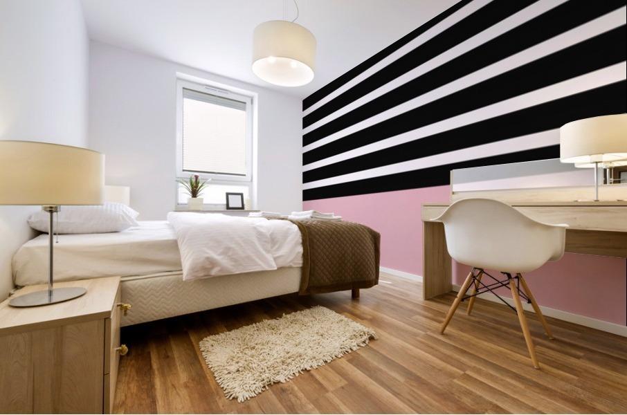 Black & White Stripes with Beauty Bush Patch Mural print