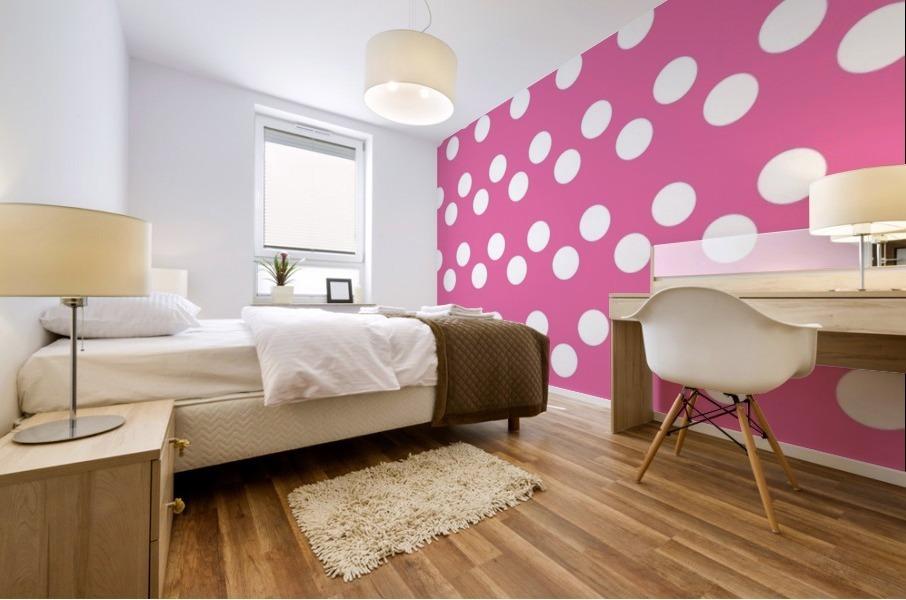 HOT PINK Polka Dots Mural print