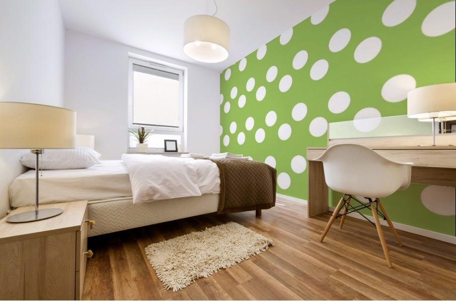 Dark Olive Green Polka Dots Mural print