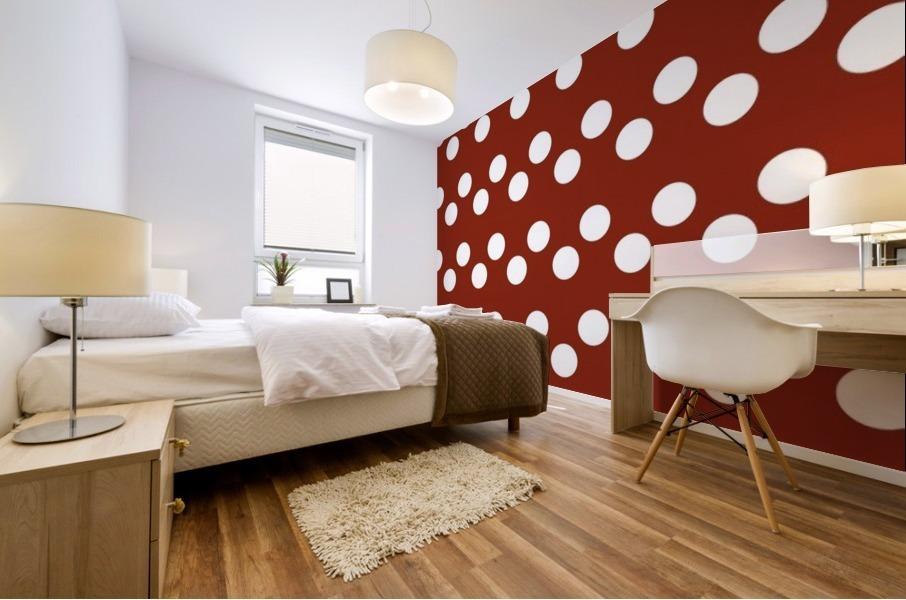 Crimson Polka Dots Mural print