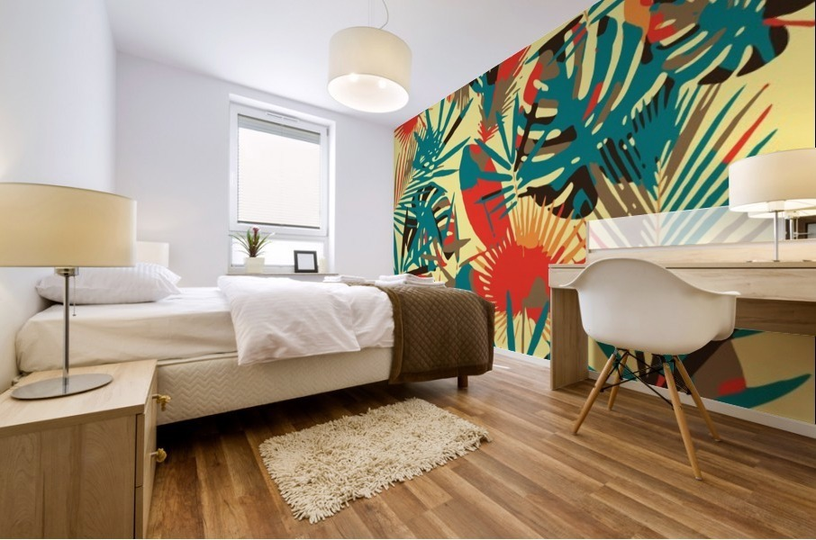 Colorful Abstract Tropical Leaves  Mural print