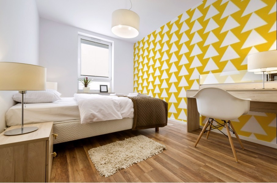 Yellow  White triangle Mural print
