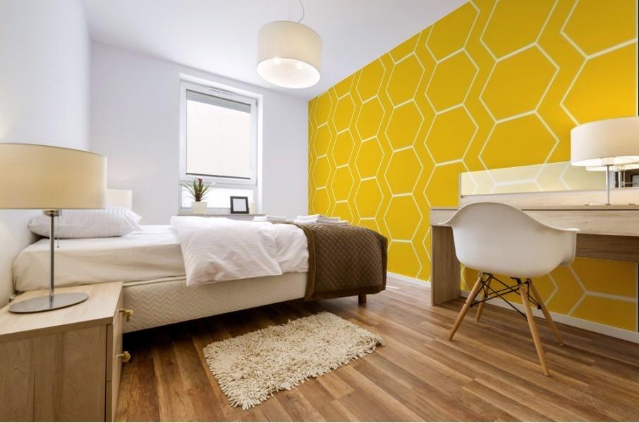 Yellow  White Hexagen Mural print