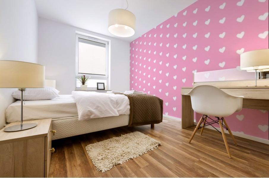 Carnation Pink Heart Shape Pattern Mural print