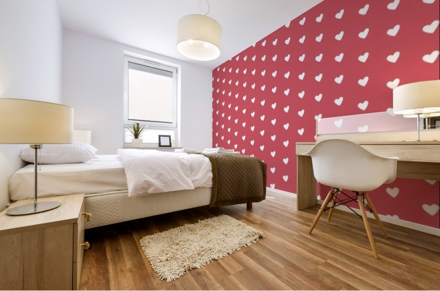 Royal Red Heart Shape Pattern Mural print