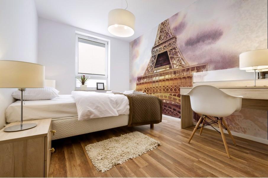 Vintage Paris Eiffel Tower Watercolor Painting Mural print