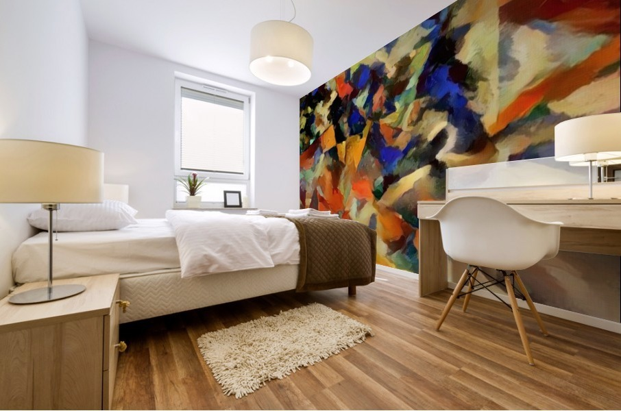 Abstract Painting with Geometric Figures Mural print