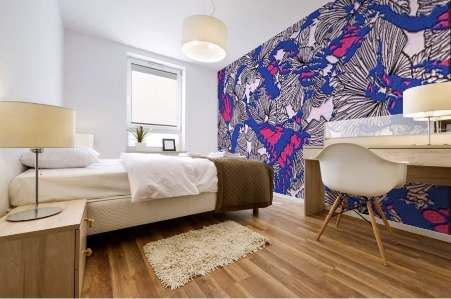 butterfly collage med Mural print