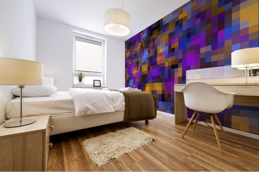 geometric square pixel pattern abstract background in blue purple yellow Mural print