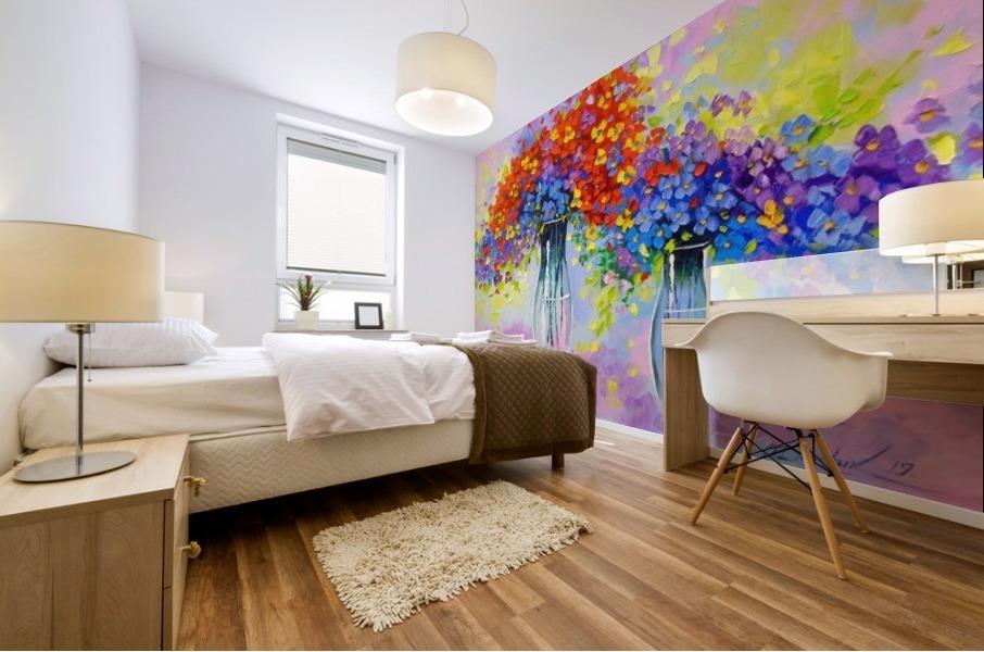 Music of multi-colored flowers Mural print