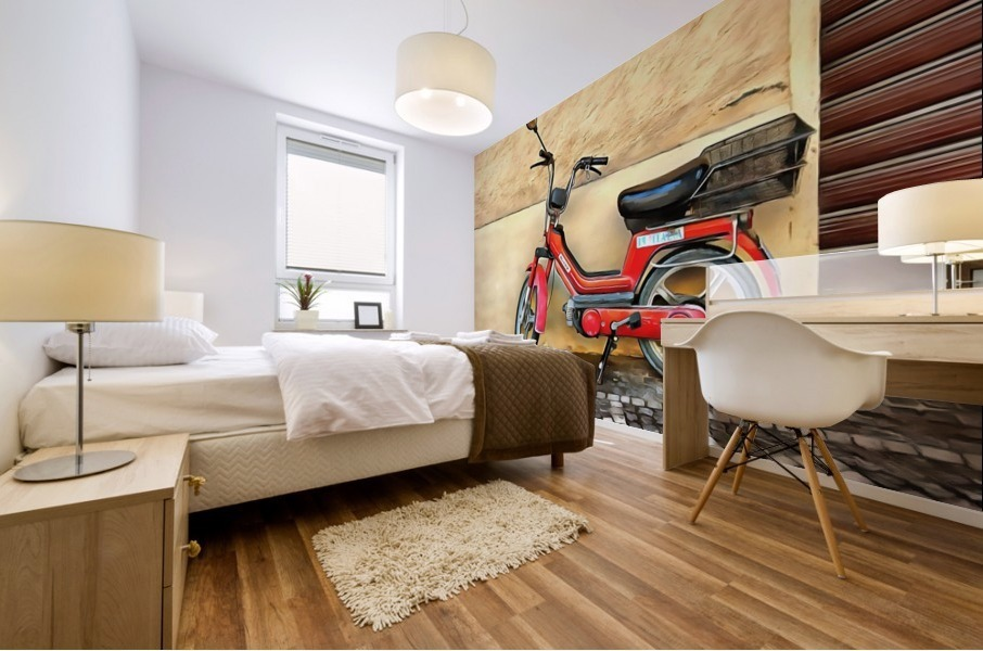 Red Piaggio Moped Mural print