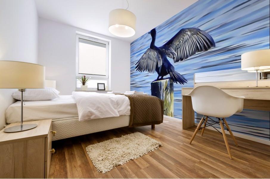 Cormorant Drying  His Wings Mural print