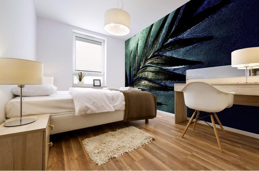 PEARL GLITTER EFFECT LEAVES TROPICAL DESIGN Mural print