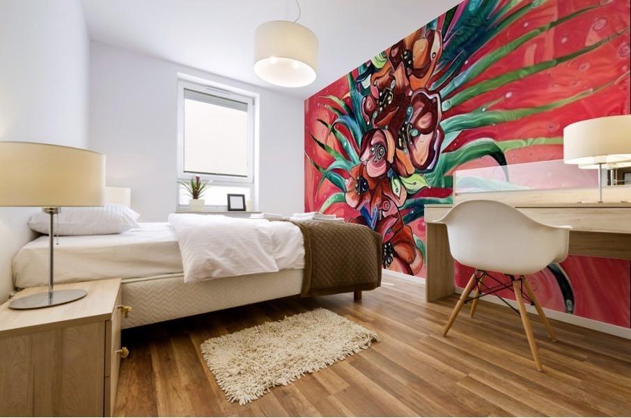 Vibrant Colors Tropical Floral Mural print