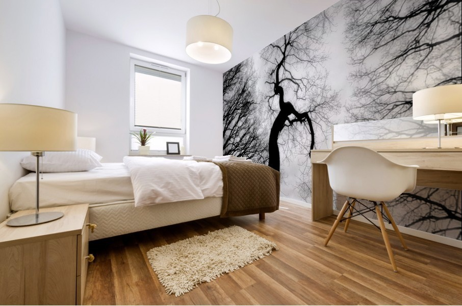 Black and White Abstract Tree 02 Mural print