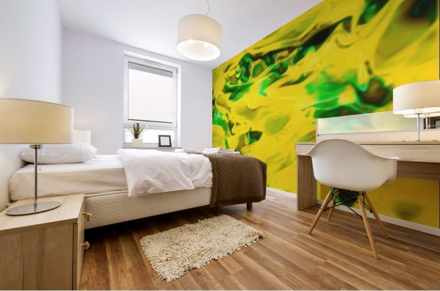 Golden Synchronicities - gold green abstract swirl wall art Mural print