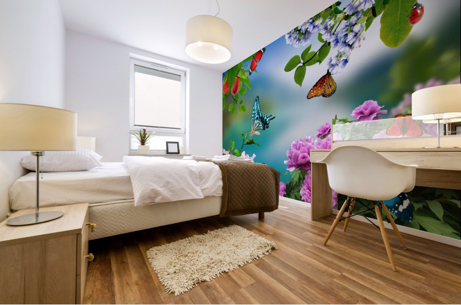 Holiday of life. Butterflies Flowers Mural print