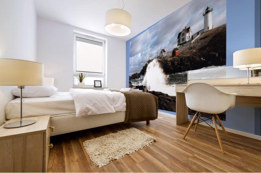 Nubble Light - Cape Neddick - York - Maine High Surf Mural print