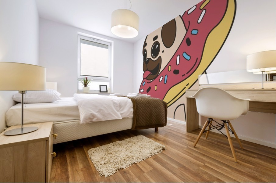 pug donut sweets tasty bun Mural print
