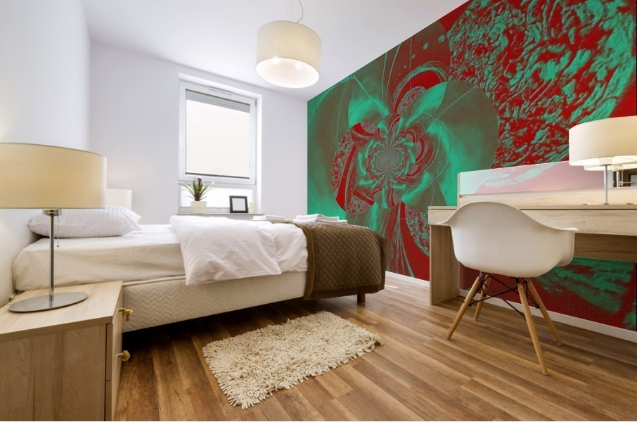 Emerald and Red Circular Patterns Mural print
