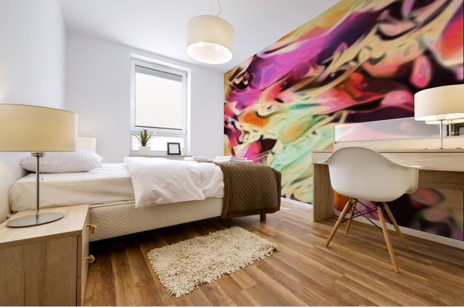 Rising Glow - multicolor swirls abstract wall art Mural print