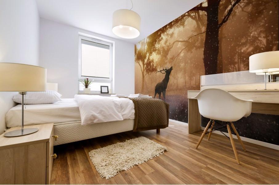 hirsch wild antler nature forest Mural print