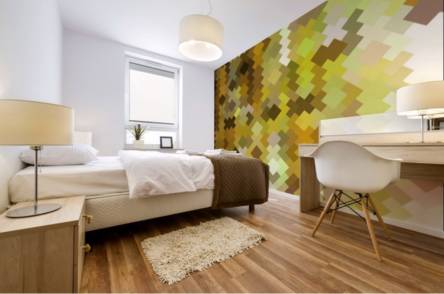 geometric square pixel pattern abstract in yellow and brown Mural print