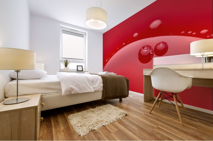 Abstract background of red color and circle shape Mural print