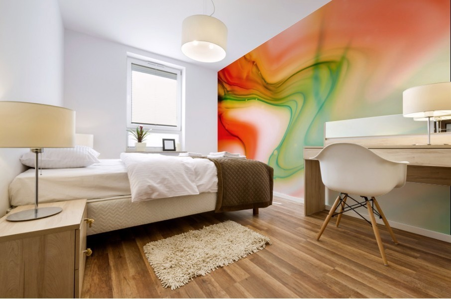 The colorful background of freeform floating watercolor Mural print