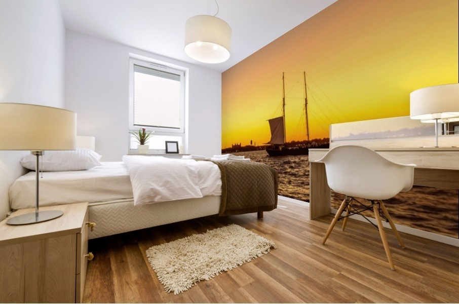 Sunset over the NY harbor Mural print