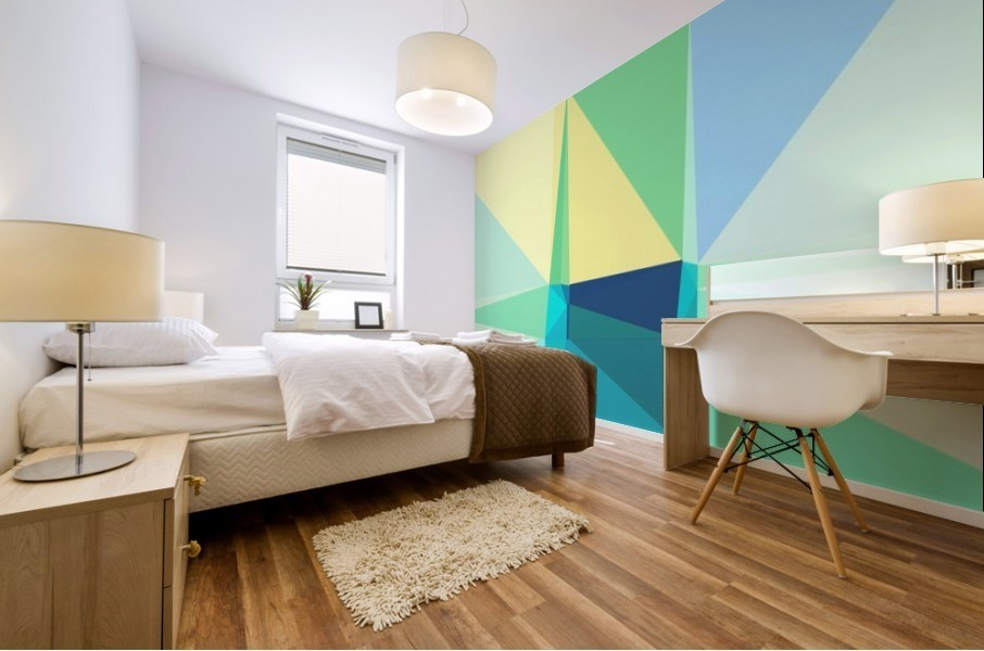 abstract colorful geometric shapes Mural print