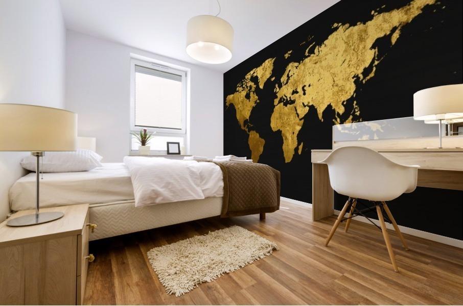 Golden World Map Mural print