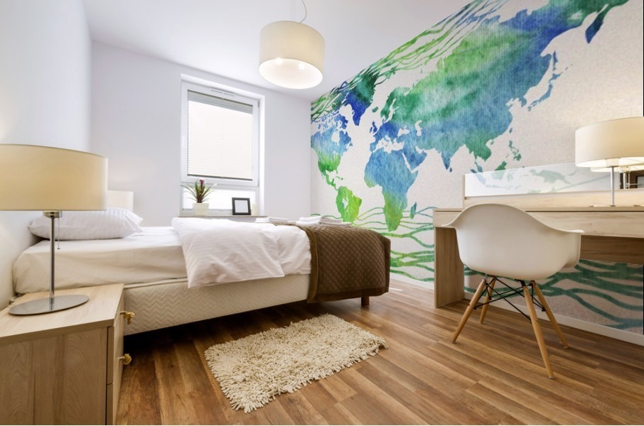 Watercolor Silhouette World Map Blue Green Wave  Mural print