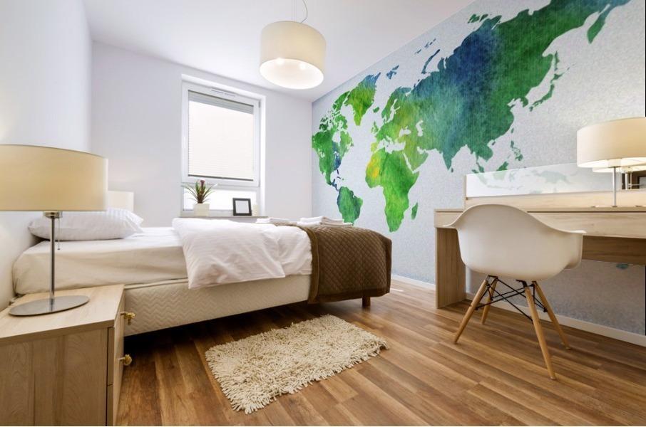 Watercolor Silhouette World Map Peaceful Green  Mural print