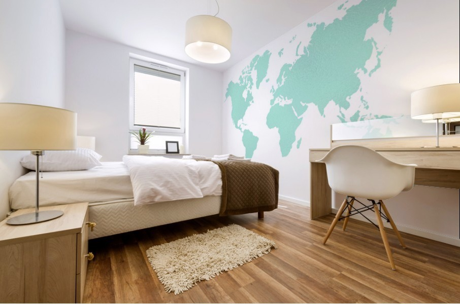 TURQUOISE SHADE WORLD MAP Mural print