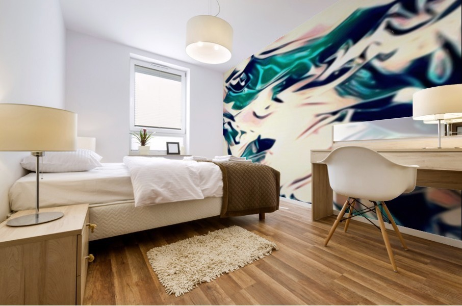 Crystal Spine - green white blue multicolor abstract swirl wall art Mural print