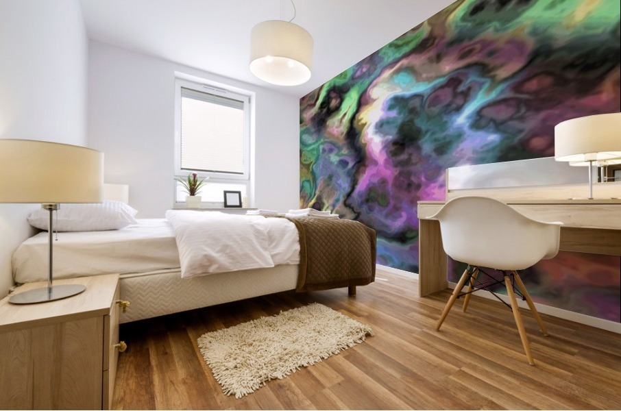 Dark Rainbow Marble multicolor abstract pattern wall art Mural print