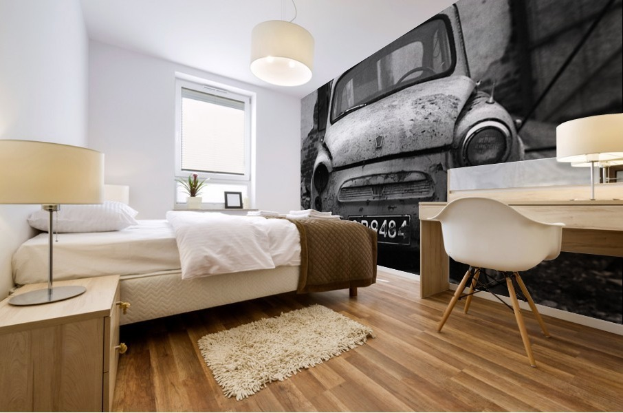 Abandoned ZAZ 965  USSRs replica of FIAT 600 Mural print