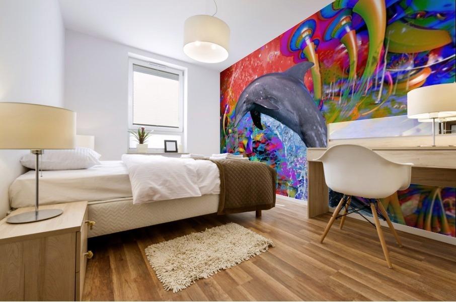 Dolphin Color Splash Mural print
