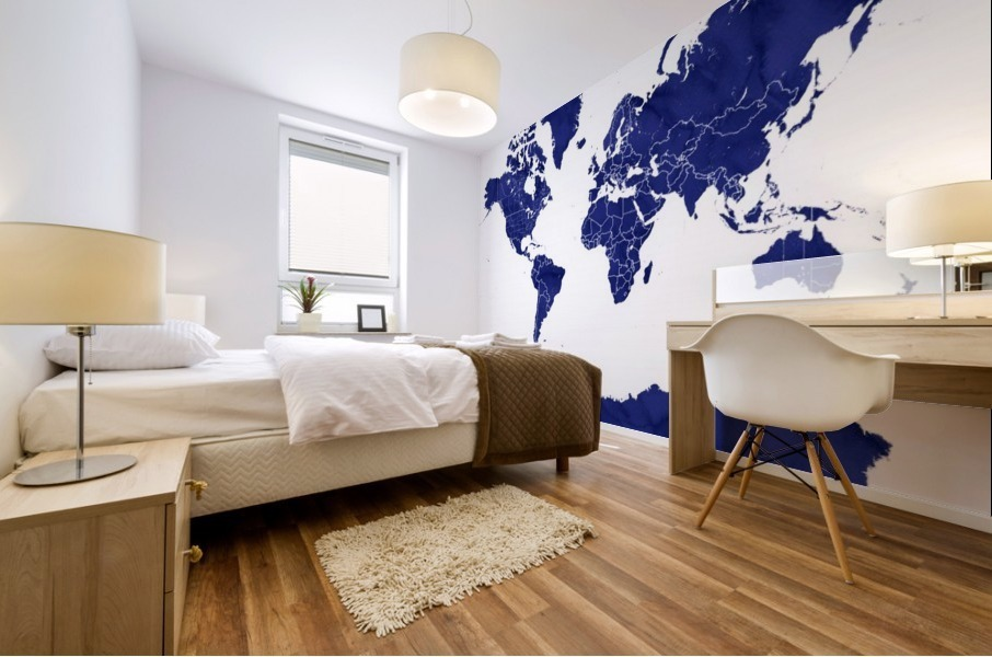 navy blue world map with outlined countries Mural print