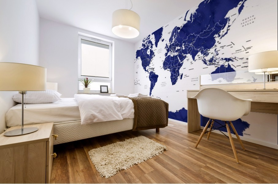 Navy blue watercolor world map with countries and states labelled Mural print
