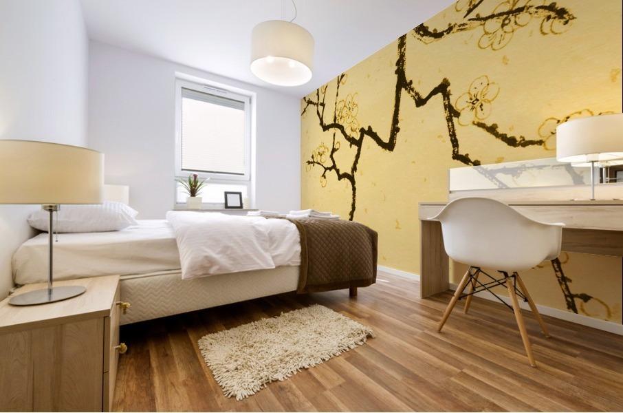 Plum Blossom Twig - Yellow Mural print