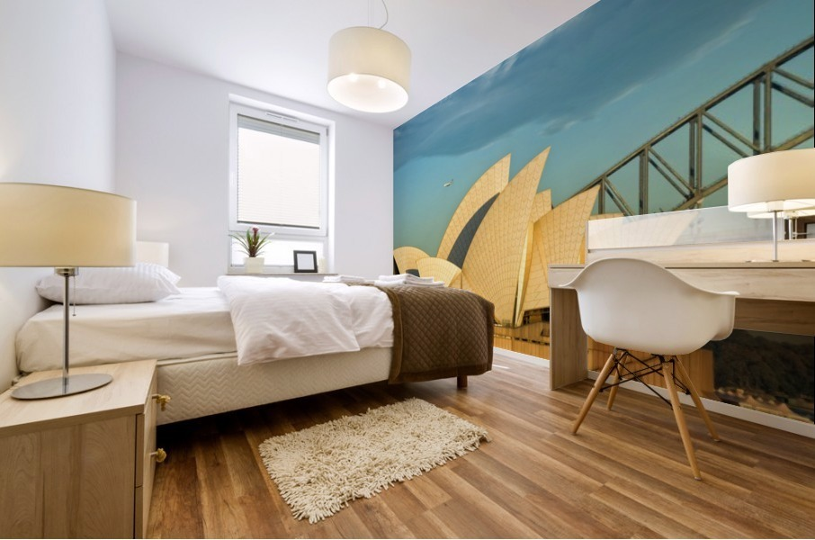 First plane of the morning Sydney Opera House Mural print